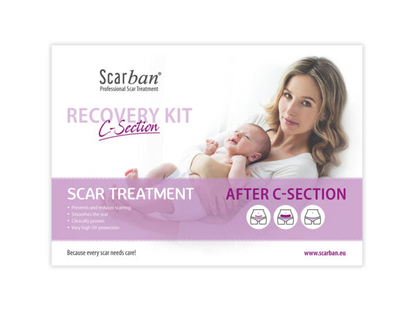 Scarban C-Section kit. Komplett med silicon plåster, rengöring samt broschyr. SPF 50. 100% Medicinsk silicon.